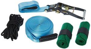 Relaxdays Slackline 15m Set mit Baumschutz Hilfsseil Ratsche und Tasche, einsteigerfreundlich